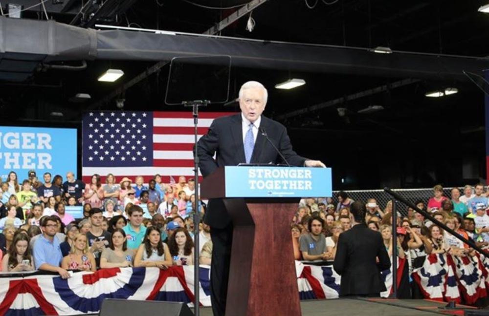 Former Governor Jim Hunt prepares the crowd for Secretary Clinton.